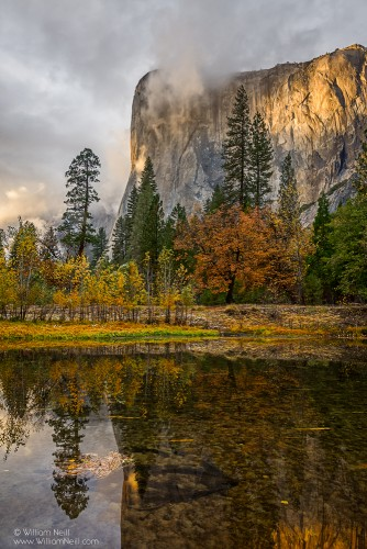 Autumn Sunset on El Capitan and the Merced River, Yosemite National Park, California 2013